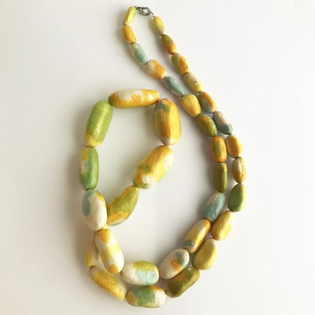 和紙のネックレス(積翠)白地に黄緑青※ケース付