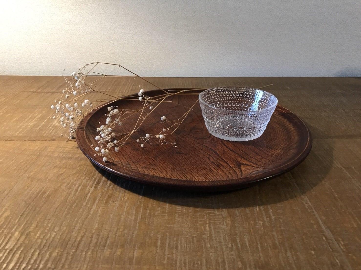 昭和レトロ 木製丸型お盆 [004]