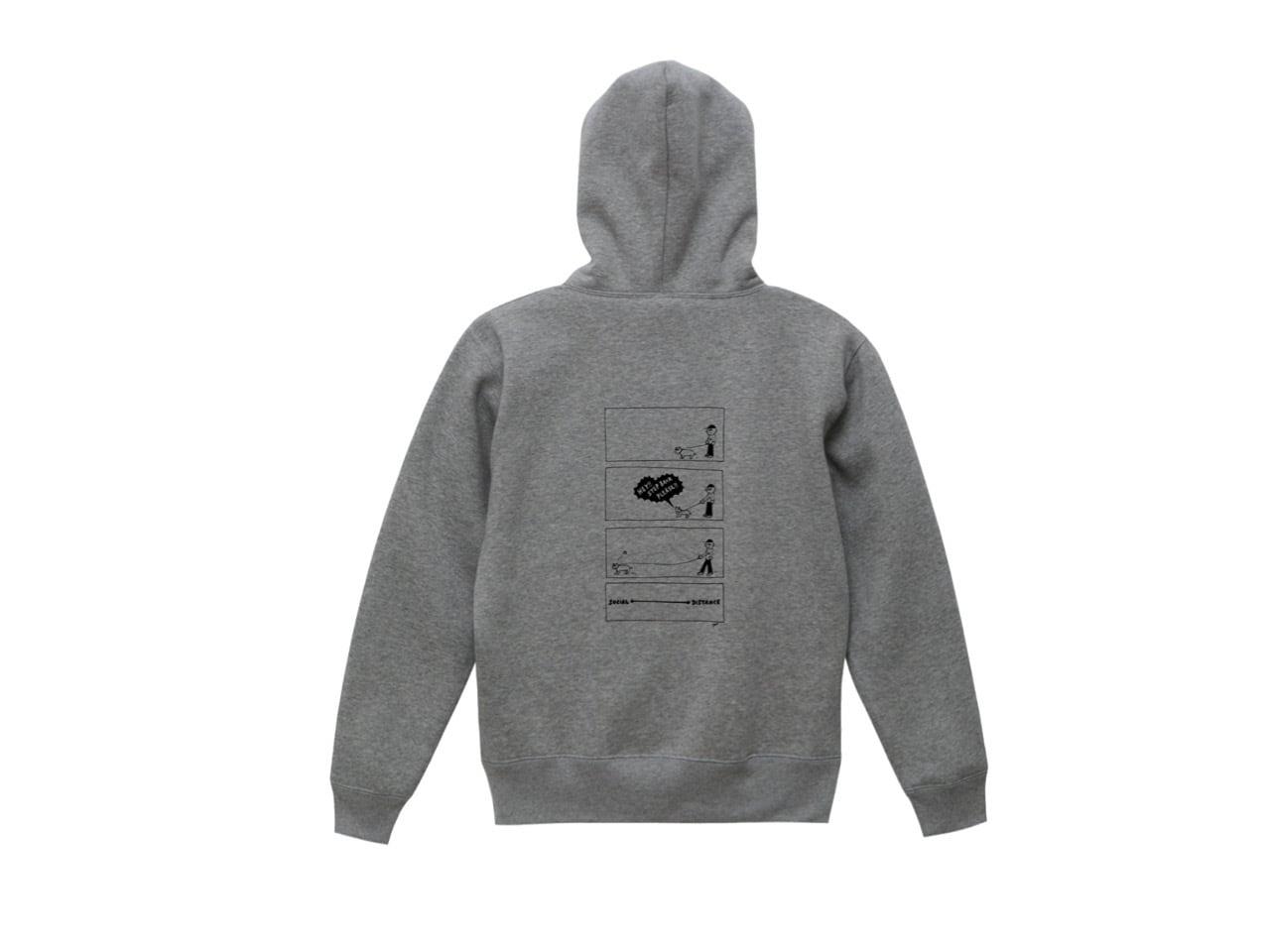 SHI × coguchi Dog SD hoodie (GRY/BLK)