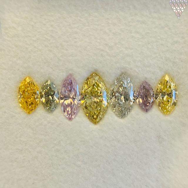合計  0.98 ct 天然 カラー ダイヤモンド 7 ピース GIA  1 点 付 マルチスタイル / カラー FANCY DIAMOND 【DEF GIA MULTI】