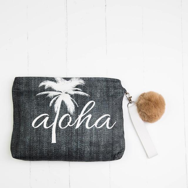 クラッチバッグ (防水裏地付き) Den'm Aloha Palm Tree