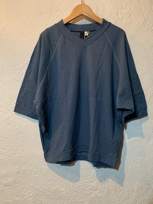 Chloro sister/リコット天竺ラグランvネックTシャツ ブルー
