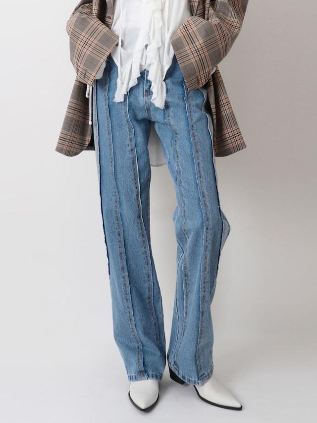 【WOMENS - 1 Size】STRIPE CUT JEAN / Blue