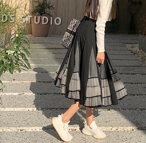 【再入荷】全2色ブラックパイピングミモレ丈スカート