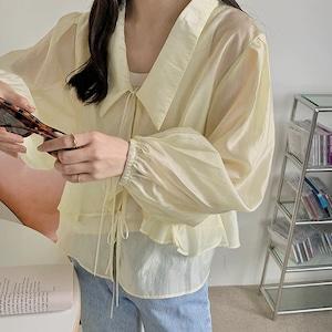 【シャツ】フロントリボンシアーシャツ