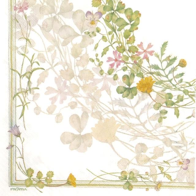 【FRONTIA】バラ売り1枚 ランチサイズ ペーパーナプキン フラワーサークル ホワイト