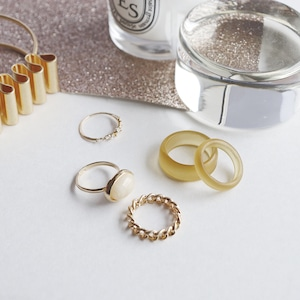 SET RINGS || 【通常商品】 EARLY SPRING CLEAR RING SET D || 5 RINGS || YELLOW×GOLD || FBA071