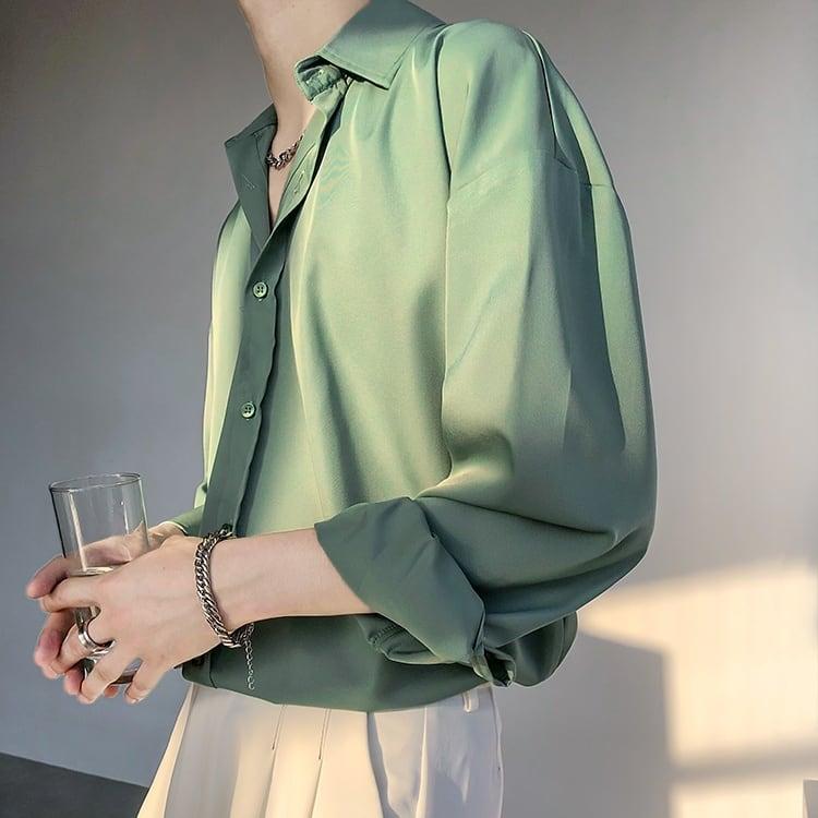 【Ranking No.3】Drape ice silk shirt   b-406