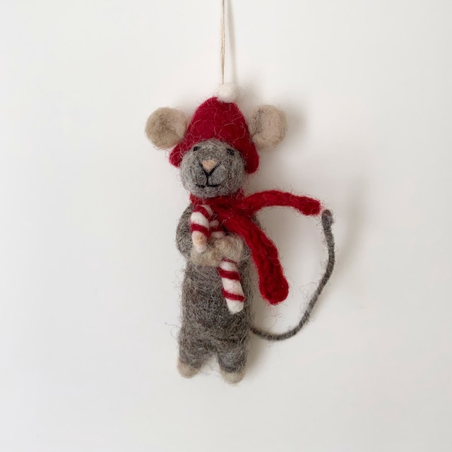 Grey Mouse with Candy Cane|キャンディケインと灰色のマウス オーナメント