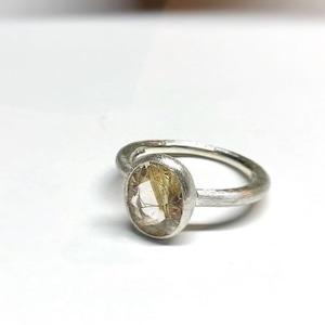【1OMSV】『One off』 Rutile quartz oval facet cut ring