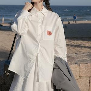 Print pocket side line shirt(プリントポケットサイドラインシャツ)b-486