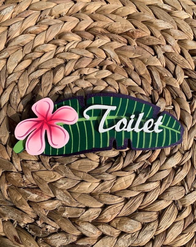 ハワイアンプルメリアドアプレート トイレ ハワイアンインテリアに♪ ピンク