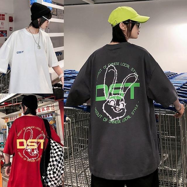 ユニセックス 半袖 Tシャツ メンズ レディース DST うさぎ ラビット プリント オーバーサイズ 大きいサイズ ルーズ ストリート TBN-613898866940