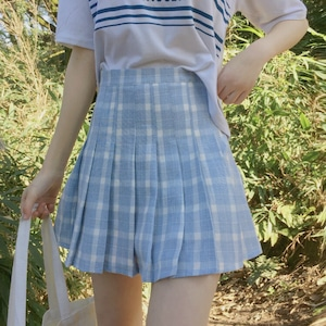 パステルカラー・チェック柄プリーツスカート