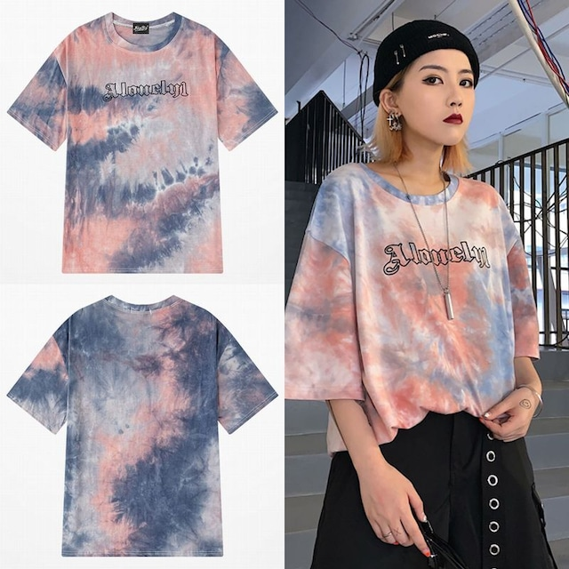 ユニセックス 半袖 Tシャツ メンズ レディース タイダイ染め 英字 オーバーサイズ 大きいサイズ ルーズ ストリート TBN-613697054926