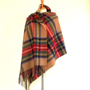 【TWEEDMILL】Lambswool Blanket Stole with Pin(Knee Rug) Tartan Carafe Brown Stewart