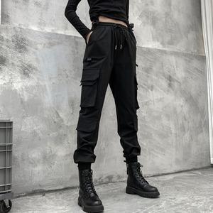 カーゴパンツ ストリート系 レディース メンズ ロングパンツ ゴシック カジュアルパンツ 個性 ゆったり ポッチャリ 大きいサイズ ダンスパンツ リブ パンツ2749