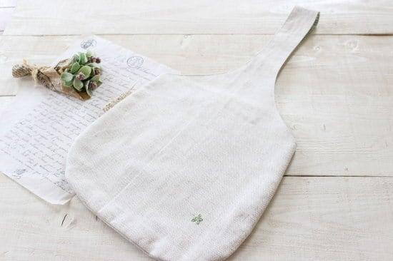 ワンハンドルバッグ*ハーフリネンヘリンボーン  お花の刺繍/LePetitMarche