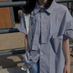 Fake tie check shirt(フェイクタイチェックシャツ)b-336