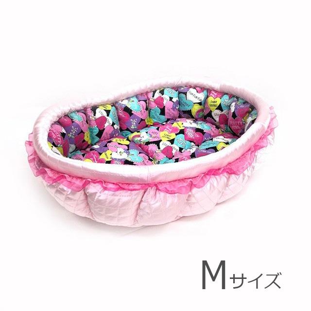 ふーじこちゃんママ手作り ぽんぽんベッド(サテンライトピンク・ユニコーン柄)Mサイズ【PB2-120M】
