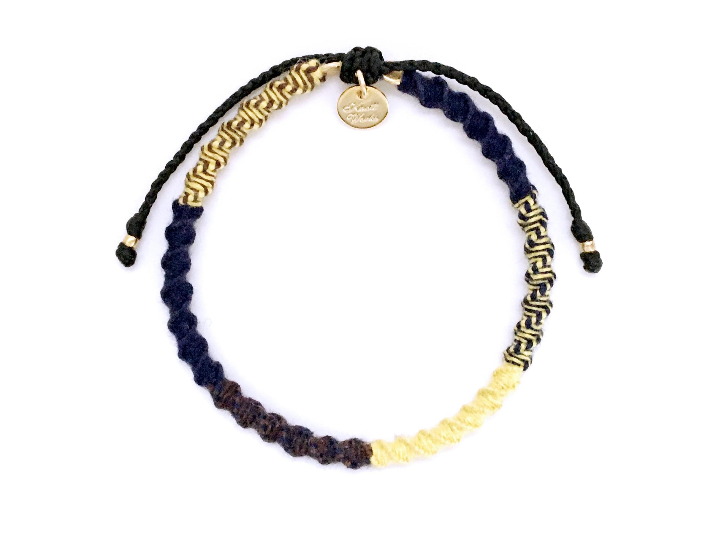 Check Patterned Bracelet / Navy Yellow[チェック柄ミサンガブレスレット]