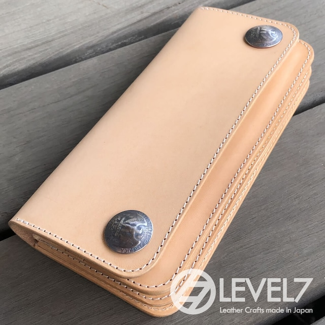 トラッカーズウォレット/ロングウォレット イタリアンレザー 生成りのヌメ革使用 日本製 リアルコンチョ LEVEL7