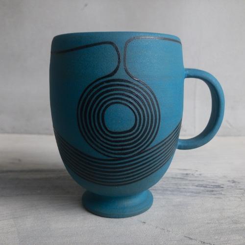 青い彩線紋のカップ①