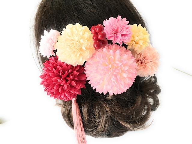 大人かわいいピンクの花かんざしセット