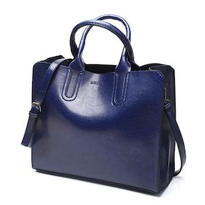 PUレザーハンドバッグ トランクトート ショルダーバッグ ラージボルソス blue