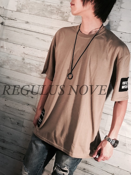 REGULUS NOVE デザインパッチBIGTシャツ BEIGE ユニセックス レディース メンズ オーバーサイズ 大きいサイズ 派手 個性的 ストリート ロック