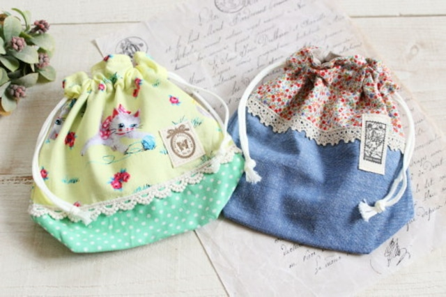 コップ袋*巾着 ねこ・小花柄/Lafleur