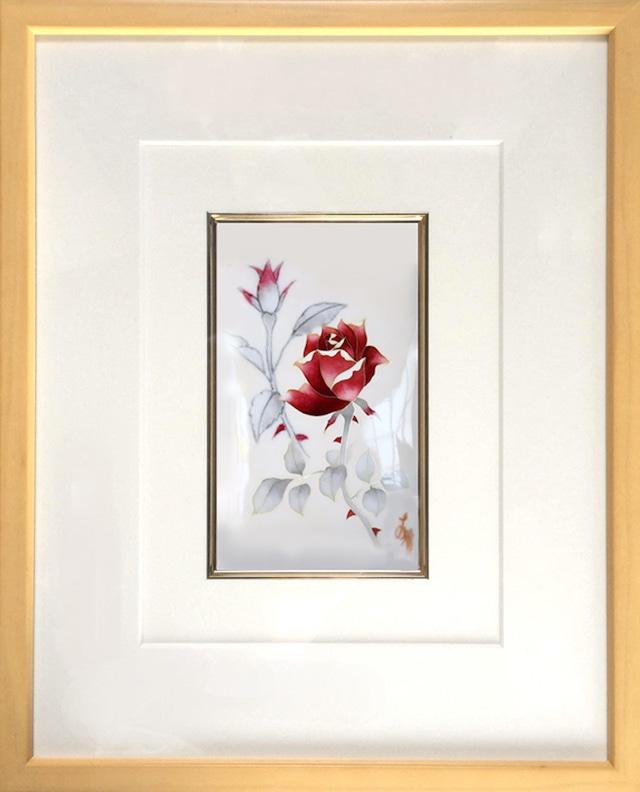 額絵 薔薇七宝額(平面作品)  / rose