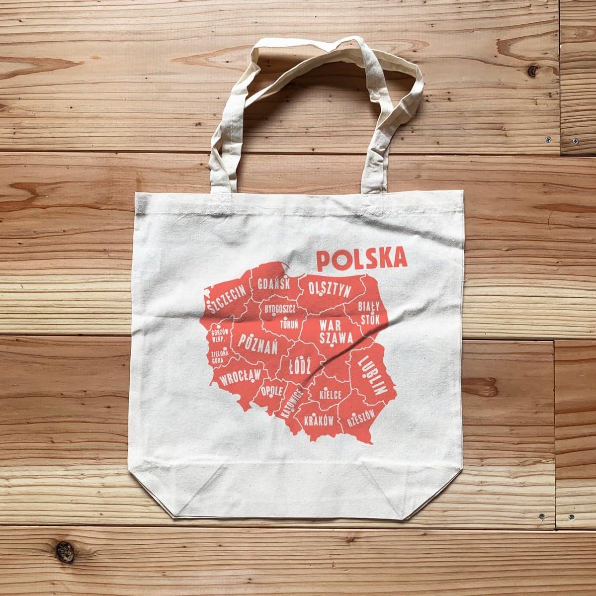 トートバッグ「ポーランドの地図」 A4サイズ / Mapa Polska Tote