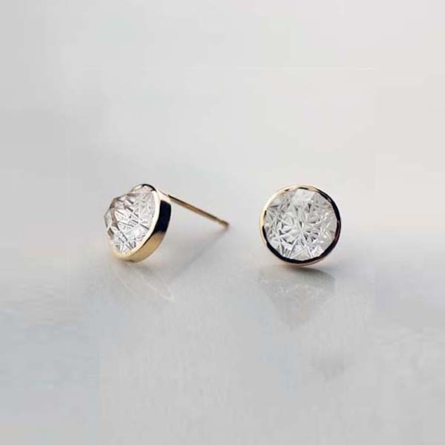 Quartz KIRIKO Pierced Earrings (Round)