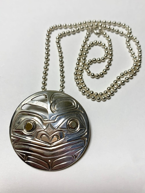 Vintage First Nations Hand Carved Sterling &14K Gold Pendant/Brooch With Chain Made By Reg Gladstone (Moon Motif)