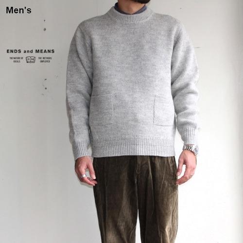 ENDS and MEANS クルーネックニット Grandpa Knit EM172K008 BEIGE GRAY