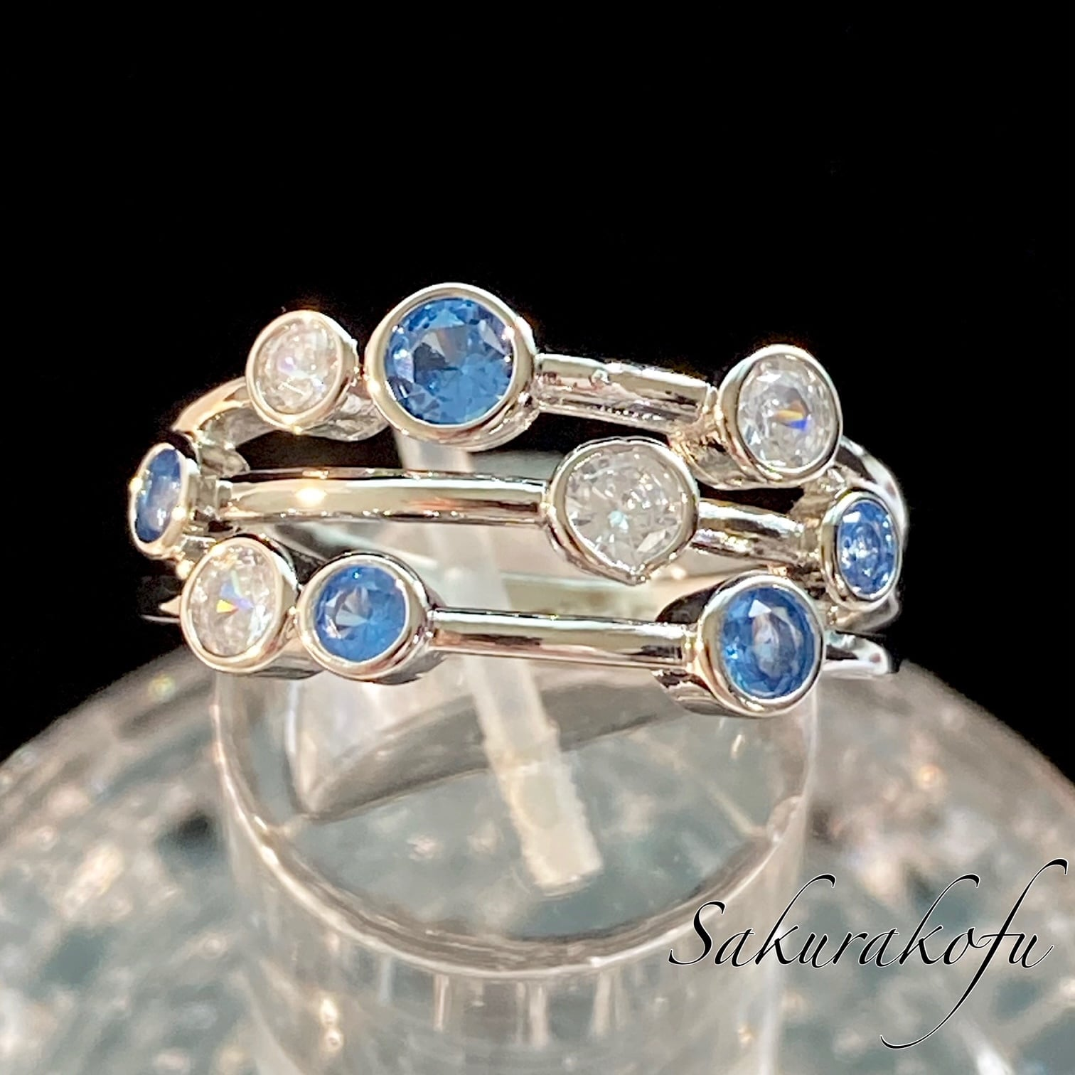 D088 送料無料 人気デザイン レディース リング 指輪 アクアマリン ブルー キュービック シルバージュエリー デザイナーリング