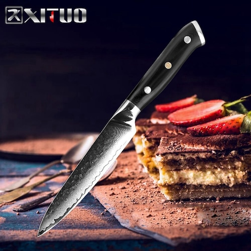 ダマスカス包丁 【XITUO 公式】  ユーティリティーナイフ 刃渡り 12.5cm  VG10  ks20082310