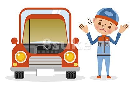 イラスト素材:お手上げポーズの自動車整備士とボンネットの開いた車(ベクター・JPG)