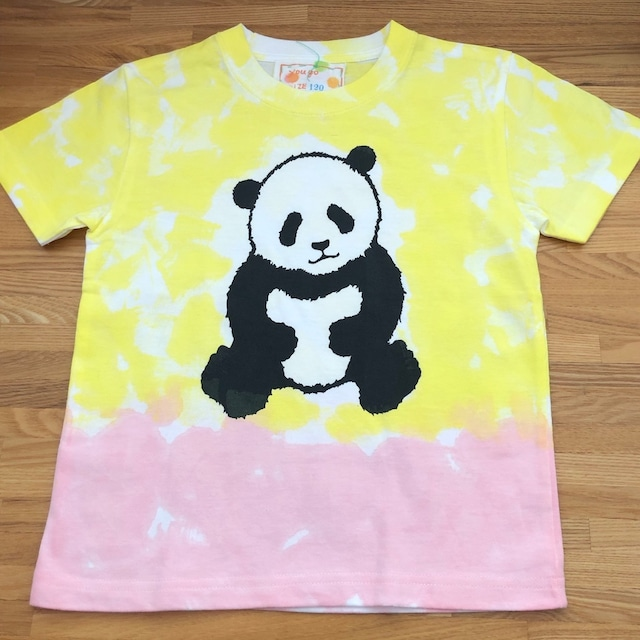 受注制作 kidsTシャツ「パンダ バイカラーピンクと黄色」80cm~140対応