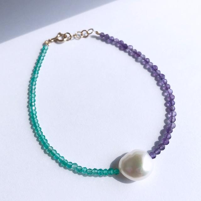 K10YG Agate x Amethyst x Baroque Pearl Bracelet / チャリティージュエリー