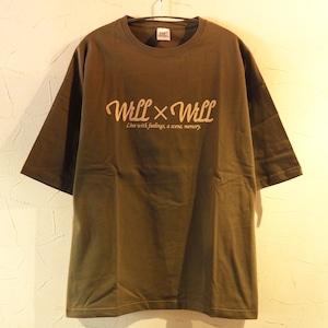 【一点物】 WillxWill logo Big silhouette T-shirts Olive  Lサイズ