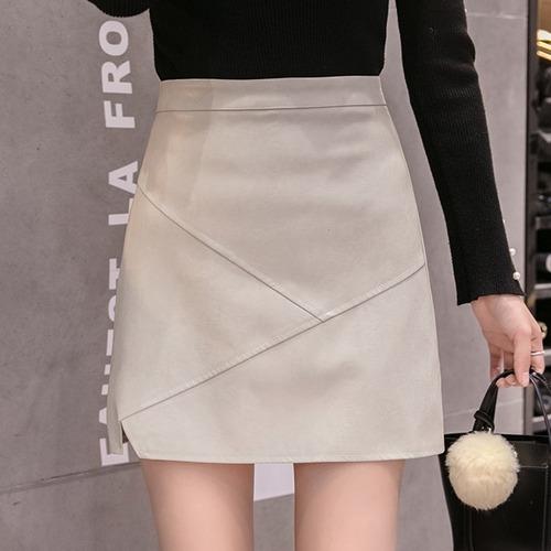 2色/フェイクレザー切り替えスカート ・19678