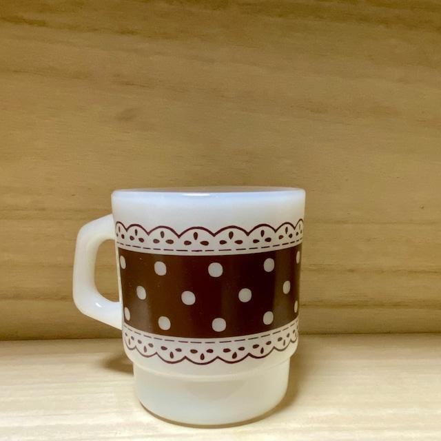 """60〜70年代 USA製 """"Fire  King"""" ファイヤーキング マグカップ  ドット柄 ヴィンテージ食器 刻印あり60's  Vintage  Mug cup"""