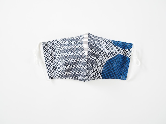 ケイコロール  大人マスク 「納戸の疋田とねずの縞と中丸」 立体仕立て ダブルガーゼ仕様