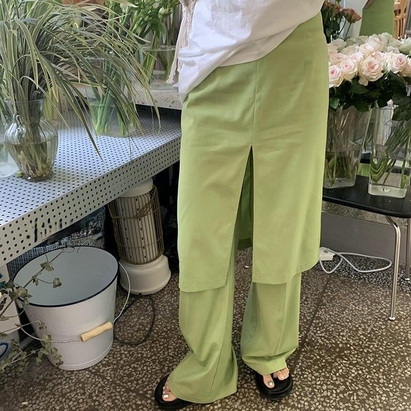 Green layered pants(グリーンレイヤードパンツ)b-366