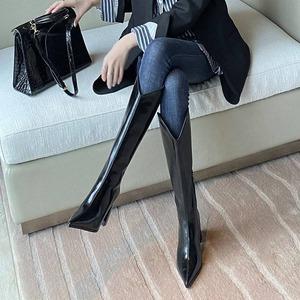 【シューズ】ファッションポインテッドトゥ人気合わせやすいハイヒールロング丈ブーツ52324762