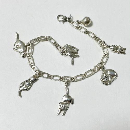 Vintage 925 Silver Cat Charm Bracelet