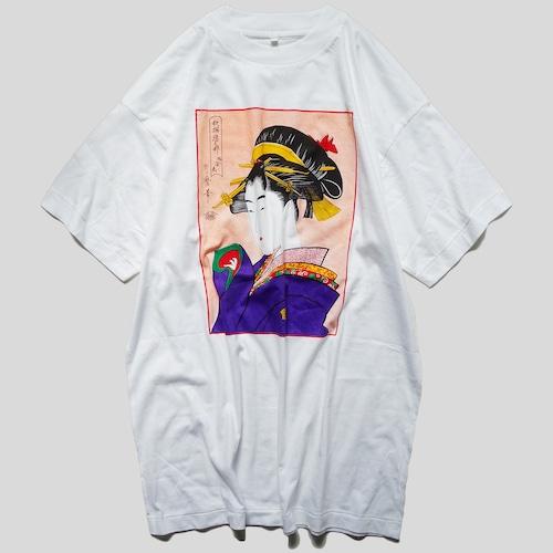 """80年代 喜多川歌麿 """"稀ニ逢恋"""" Tシャツ 【LL】   浮世絵 ヴィンテージ 古着"""