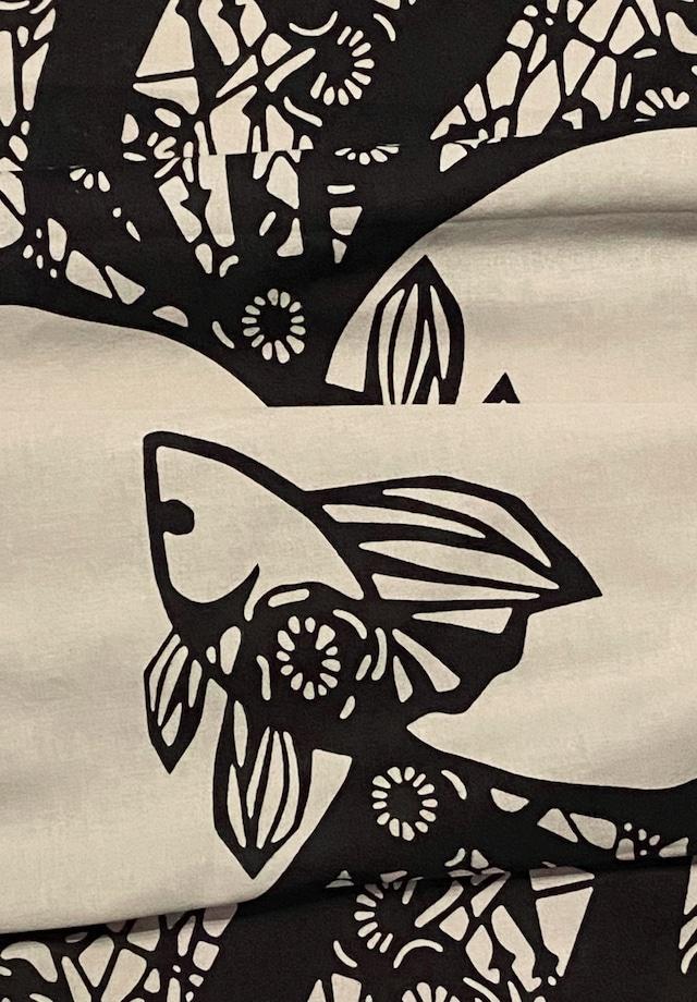 てぬぐい:つがい金魚変わり柄 (Black×Beige)